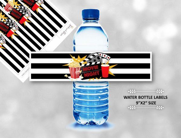 Movie Night Water Bottle Labels