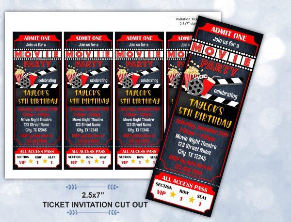 Editable Movie Ticket Birthday Invitation