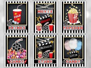 Movie Night Party Signs, Movie Night Printable Party Decoration, Movie Night Poster Set Printable, Digital Files