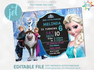 Editable Frozen Birthday Party Invitation